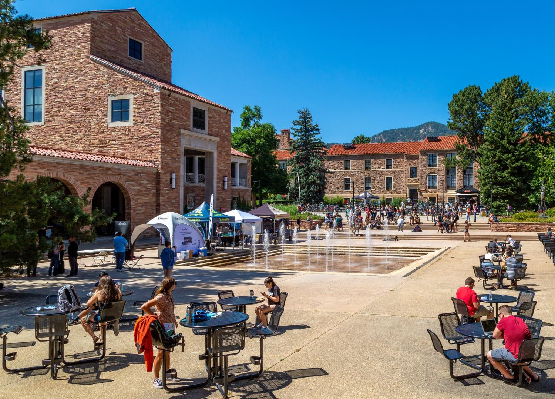 UMC fountain area on a summer day