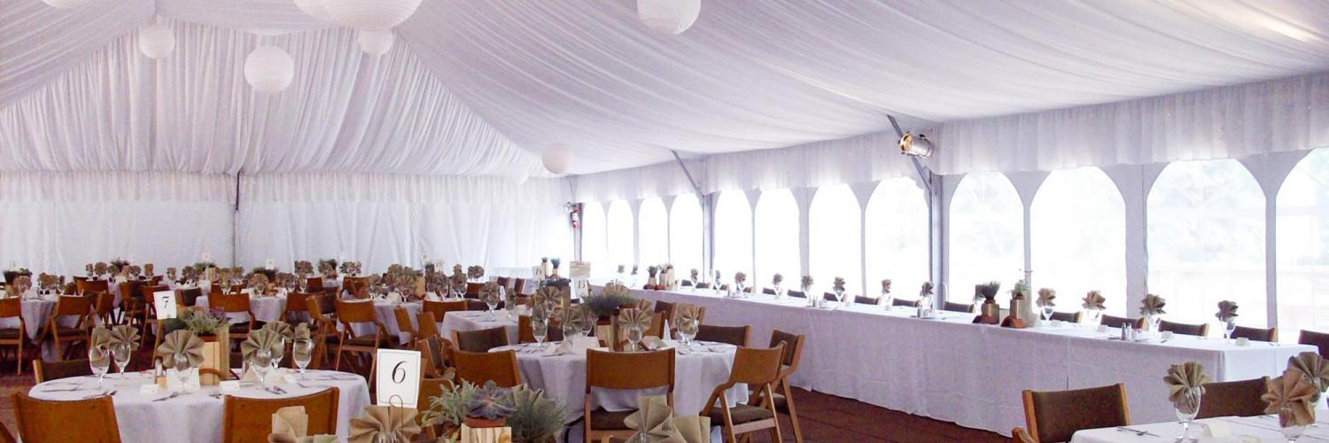 Event tent set up for a formal event