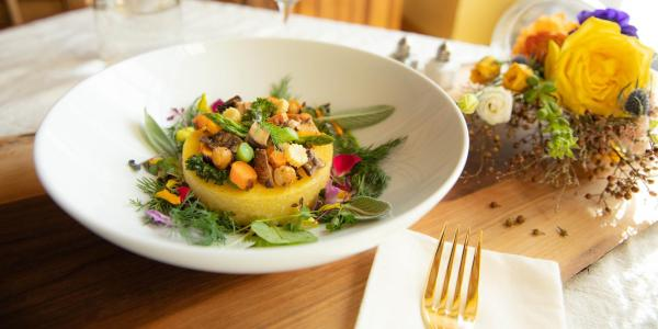 Truffled polenta and vegetables