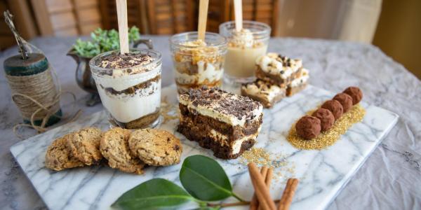 Dessert platter including panna cotta, tiramisu, brownies