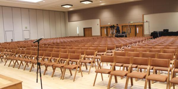 Empty ballroom section set up with chairs