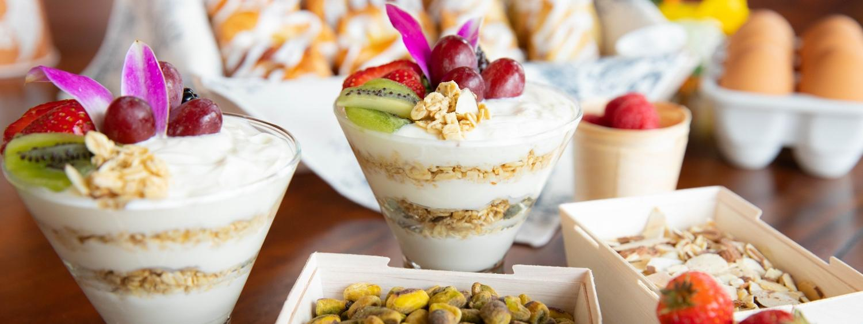 Yogurt, fruit, granola parfaits