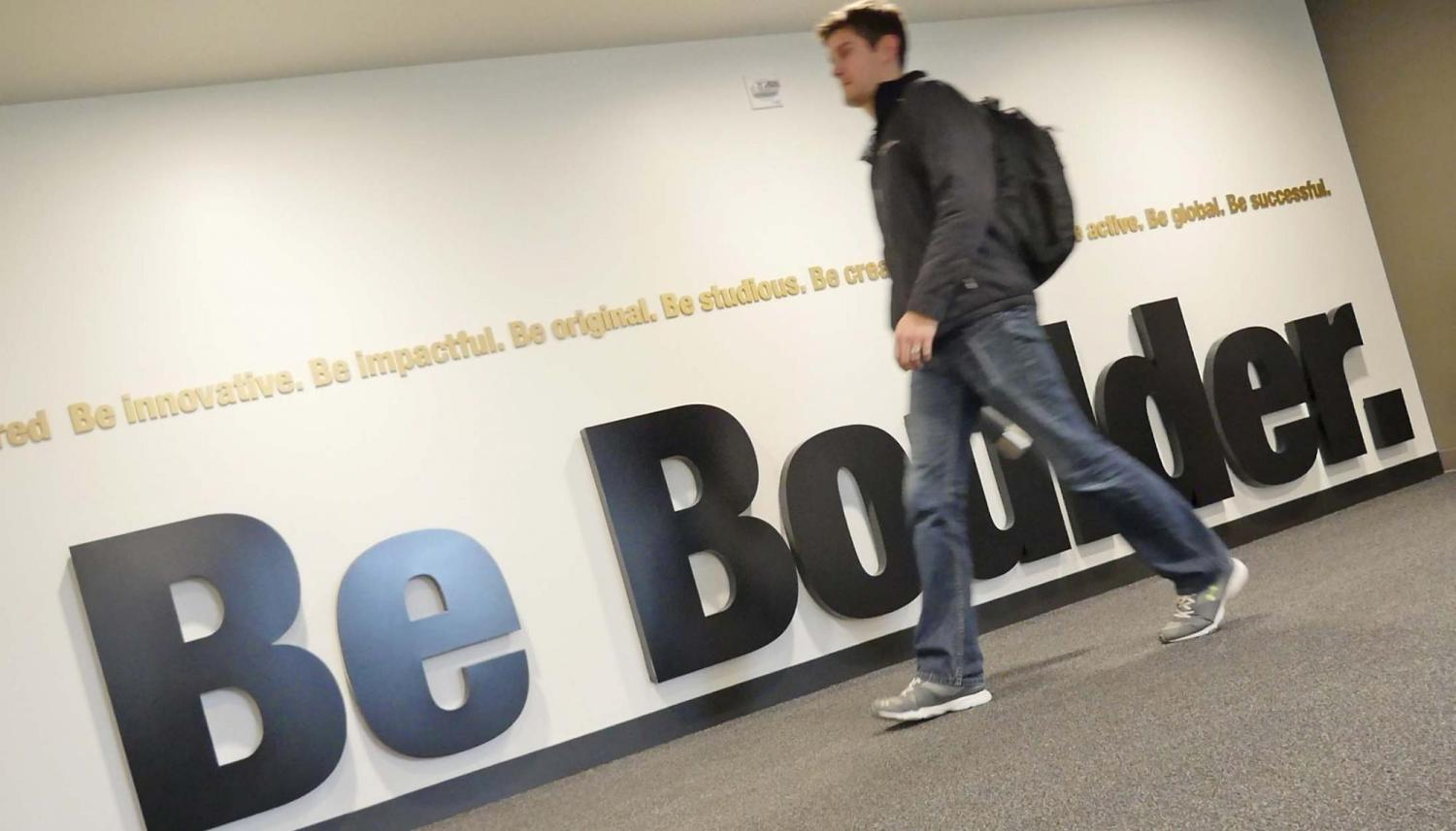 Be Boulder sign in the CASE building