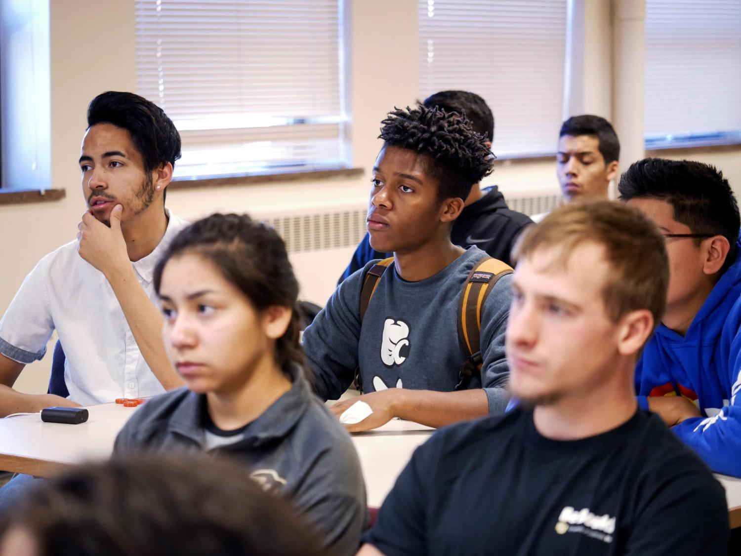 Students listening during a class lecture