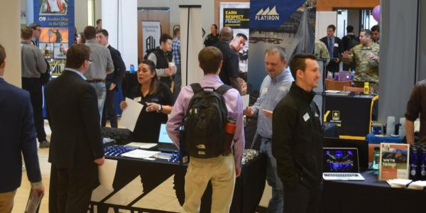 Students attend a career fair at CU Boulder