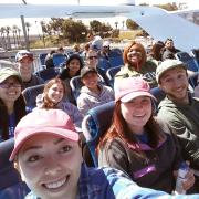 Students ride a ferry to Catalina Island, California, to work on environmental conservation.
