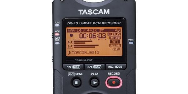 Tascam DR-40 4-Channel / 4-Track Portable Audio Recorder with Adjustable Stereo Microphone