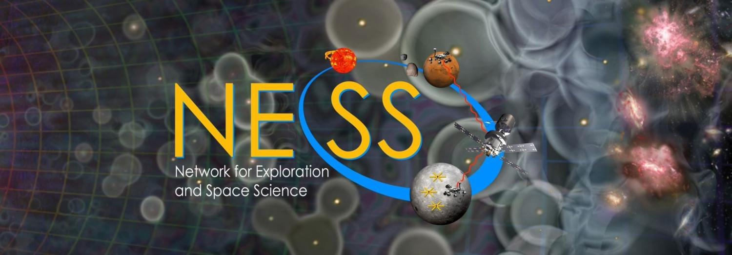 NESS Logo with Cosmic Dawn in Background