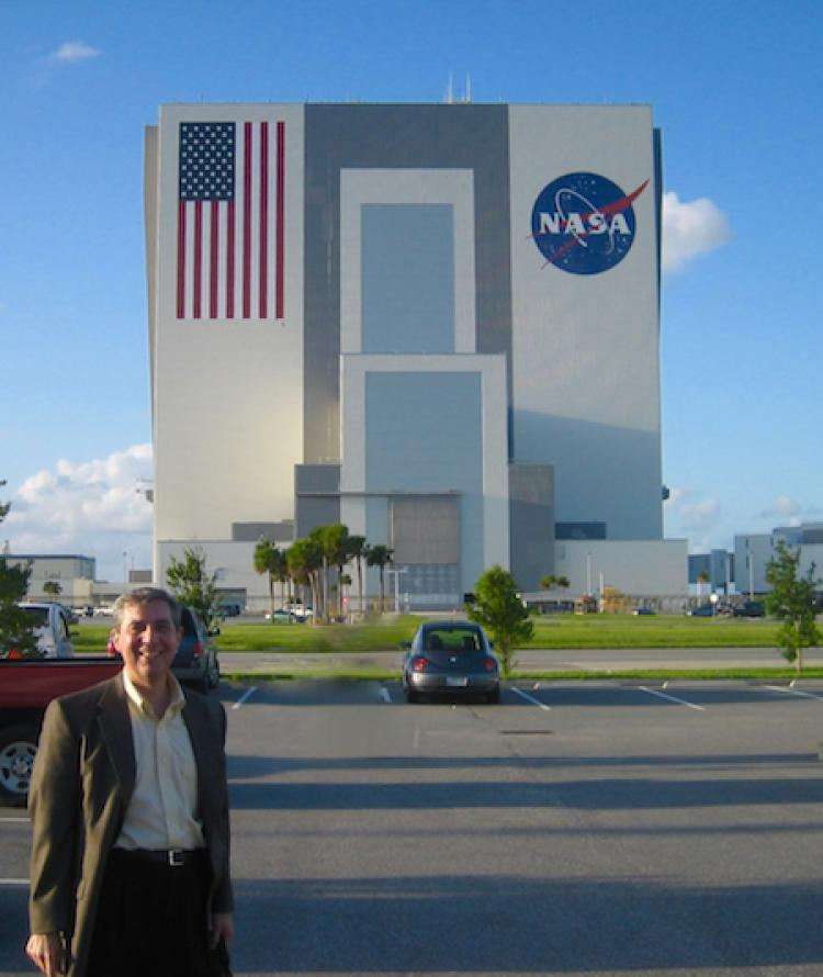 Dr. Jack Burns with the VAB in Florida in the background
