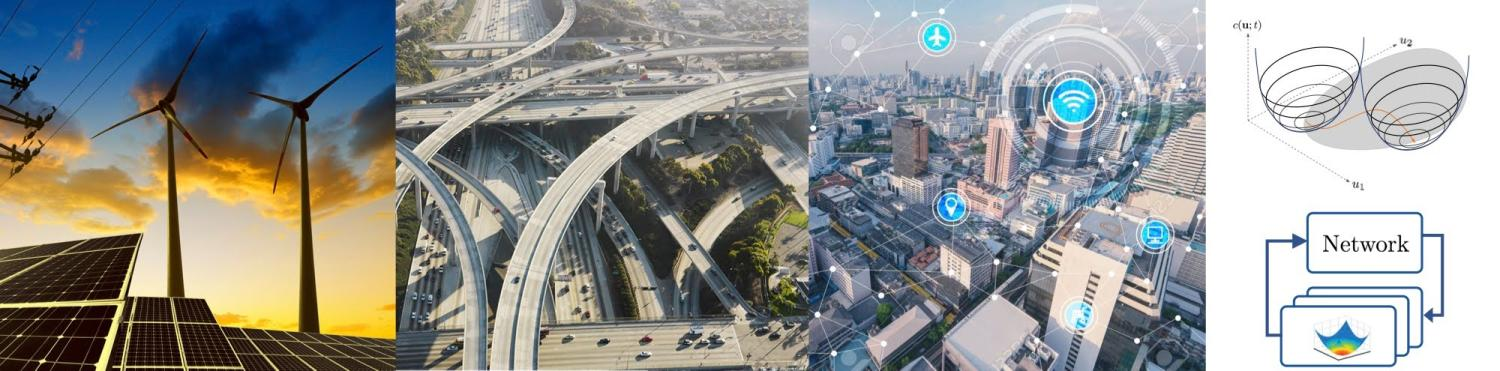 4 images in a row. The first has solar panels and wind turbines. Then a complex road system. Then a city with connection icons. The last image is a network graphic.