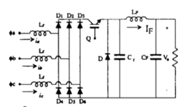 low harmonic buck rectifier model with a single switch and three-phase inputs in a parallel circuit with a resister on the other side