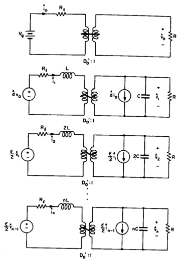 A series of equivalent circuits models that show a second harmonic in a boost amplifier