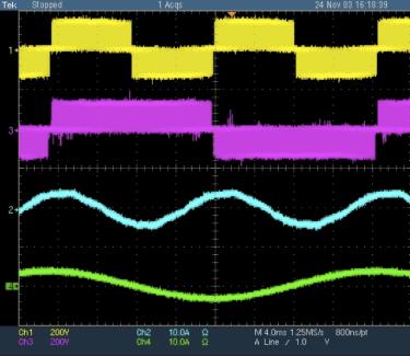 Experimental waveforms of a modular multilevel matrix converter changing 30 Hz to 60 Hz.