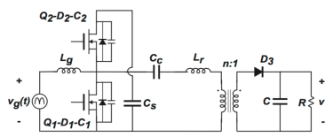 Active clamp model of a SEPIC IHQRR with two circuits connected via two resistors in a parallel circuit