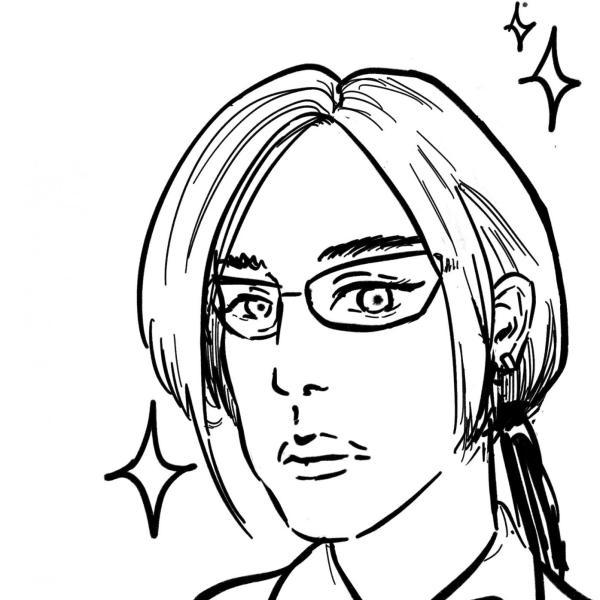 A cartoon portrait of Jamie, courtest of Darren Liu