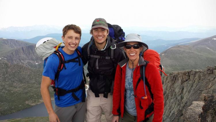 Charlie, Jake, and Martha on a summit