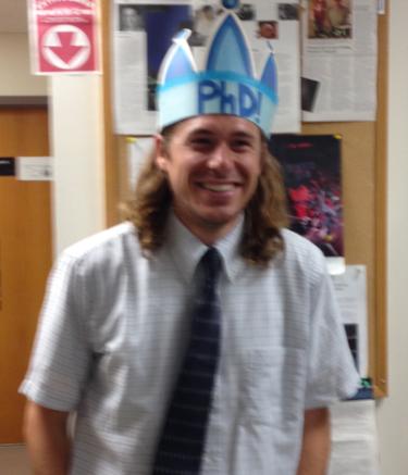 Jake in PhD crown