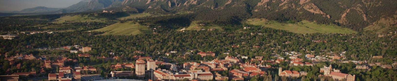 An aerial view of CU Boulder and the Flatirons