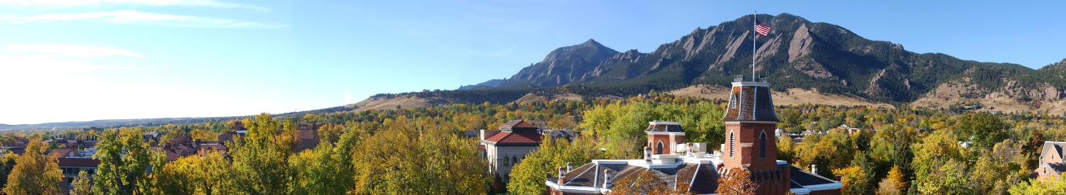 CU Boulder and views of the Flatirons