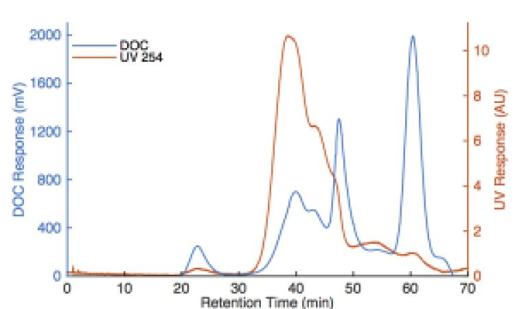 Characterization of the molecular weight distribution of organic matter