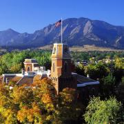 Old Main building with Flatiron Mountains