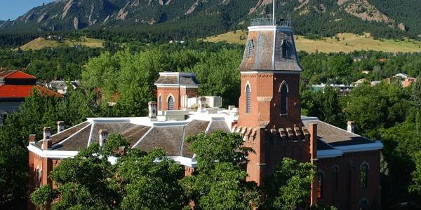 Old Main, the first building on campus at CU Boulder