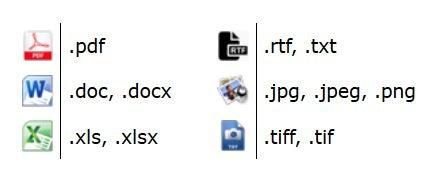 Acceptable file formats are .pdf, .doc, .docx, .xls, .xlsx, .rtf, .txt, .jpg, .jpeg, .png, .tiff, .tif