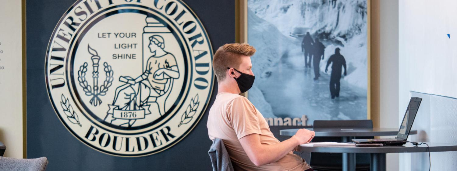 student wearing mask at desk, with computer