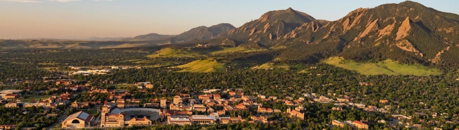 CU Aerial view looking south at the Flatirons