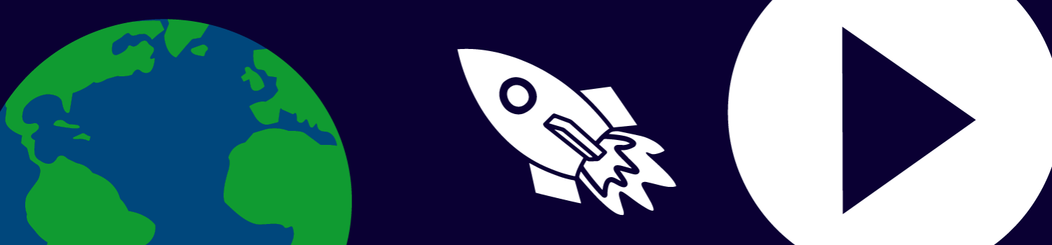 Dome to Home banner image with an earth, rocket, and the play button