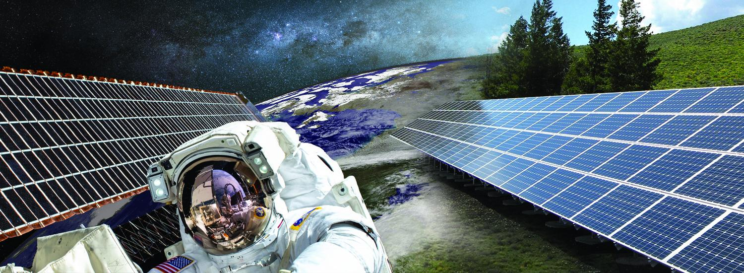 Astronaut with solar panels and earth in background