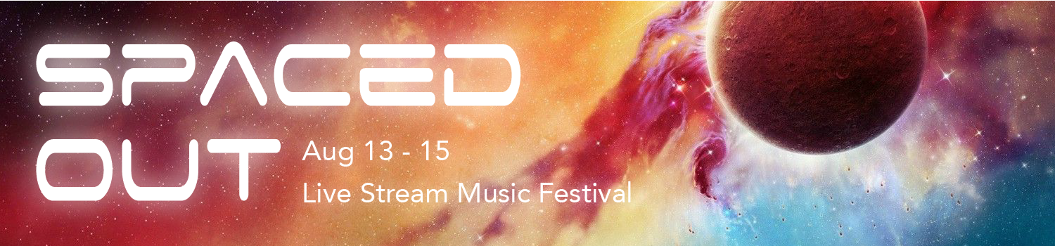 Artist illustration of a molten planet within a nebula Spaced Out Live Stream Music Festival August 13, 14, 15 8-11pm