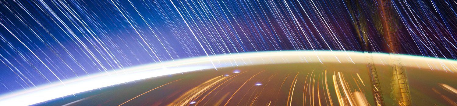A View from Earth graphic with an artistic impression of being in orbit around the earth