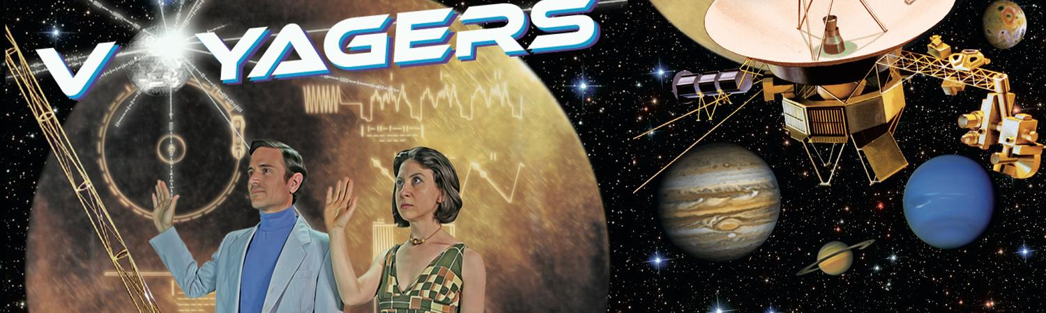 Voyagers poster with characters and spacecraft and golden record