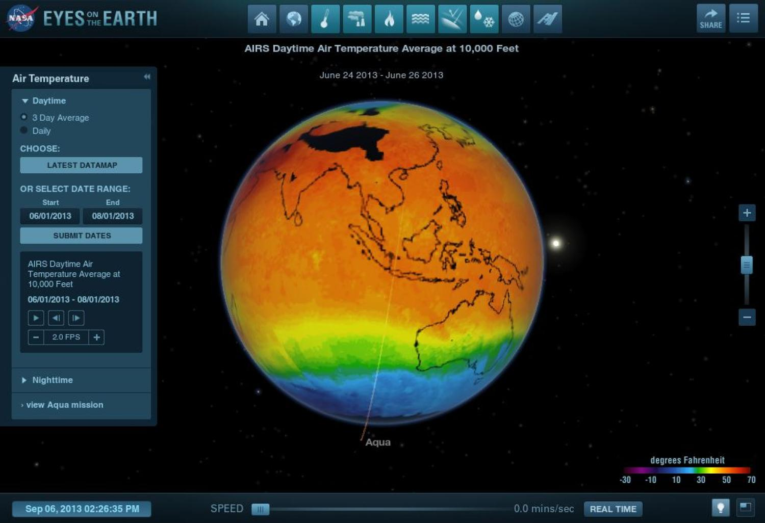 Screen capture of NASA's Eyes on Earth interactive