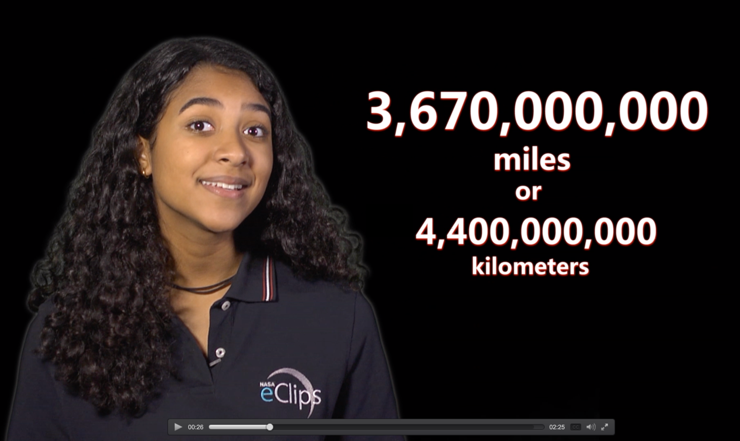 Screen Capture of Presenter talking about astronomical distances