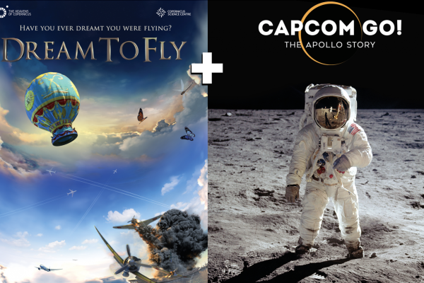 Poster and still images from Dream to Fly and Capcom Go