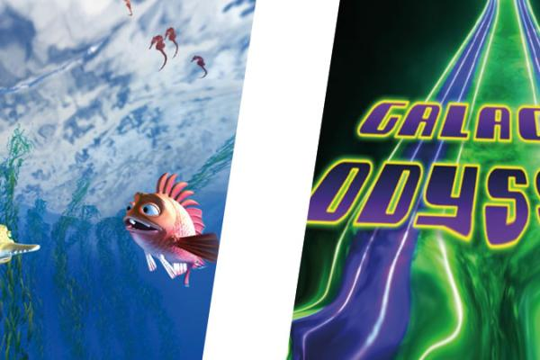 Double Feature Still images from secrets of gravity and galactic odyssey