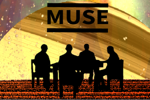 Liquid sky Saturn image with altered album cover in foreground
