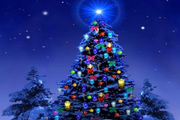 Artist illustration of a Christmas tree with lights