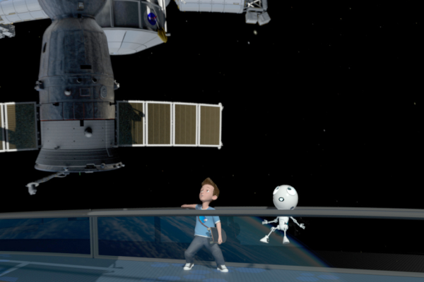 Still from Film with characters watching the ISS