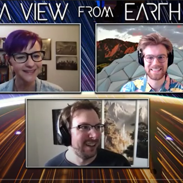 Photo of the podcast team with guest