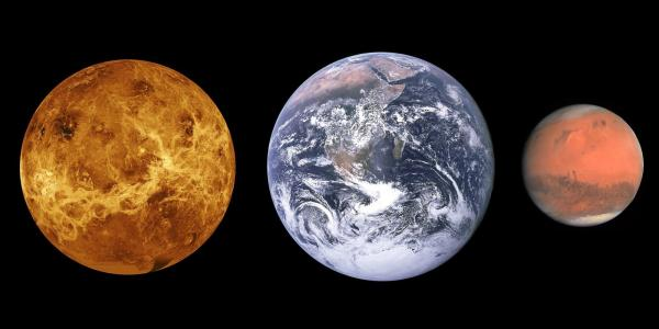 Photos from space of Venus Earth and Mars put side by side for comparison
