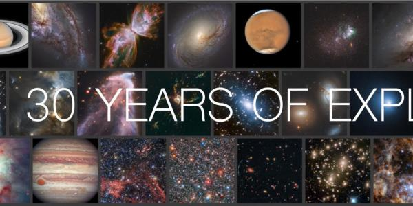 Numerous images taken from the Hubble Space Telescope 30th Anniversary graphic