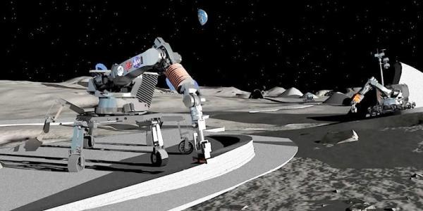 Artist illustration of 3D printed lunar base