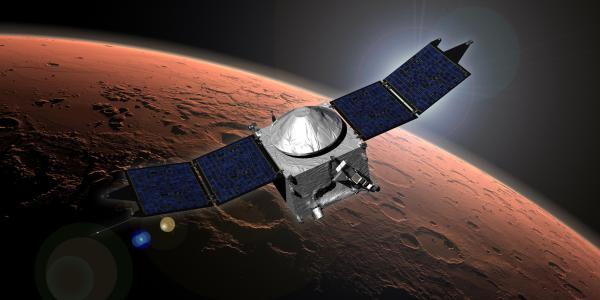 Artist illustration of the MAVEN spacecraft orbiting Mars
