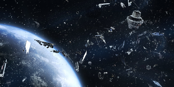 Artist illustration of lots of space junk orbiting earth