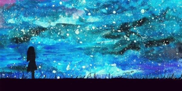 Painting of a girl looking at the stars