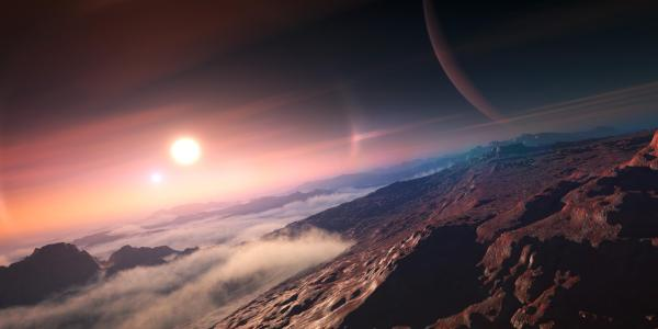 Artist illustration of an exoplanet seen from a moon binary star system in view too