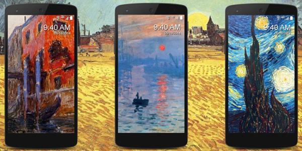 Photos of iPhones with artistic screen savers against a backdrop of a painting